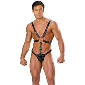 mens leather harness with pouch