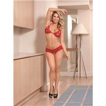 Blonde female standing in bra and split short