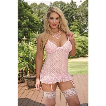 Blonde female wearing chemise and g string