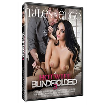 Brunette female topless with male Hotwife Blindfolded