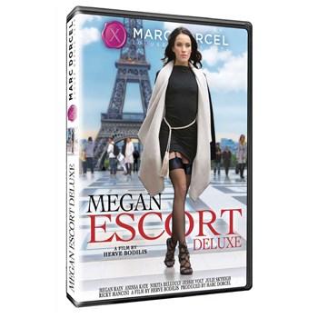 Brunette female in dress revealing legs and garter straps Megan Escort Deluxe