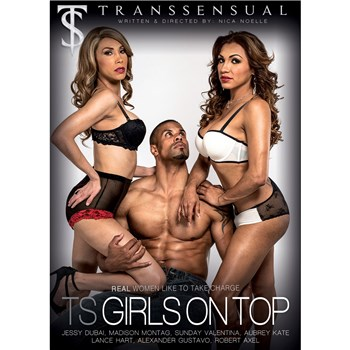 Two TS females with male TS Girls On Top