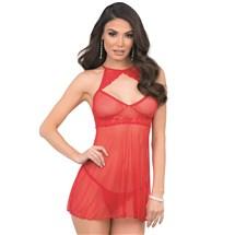 Brunette female wearing red babydoll lingerie