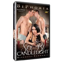 Female wearing lingerie with two topless males sex bi candelight